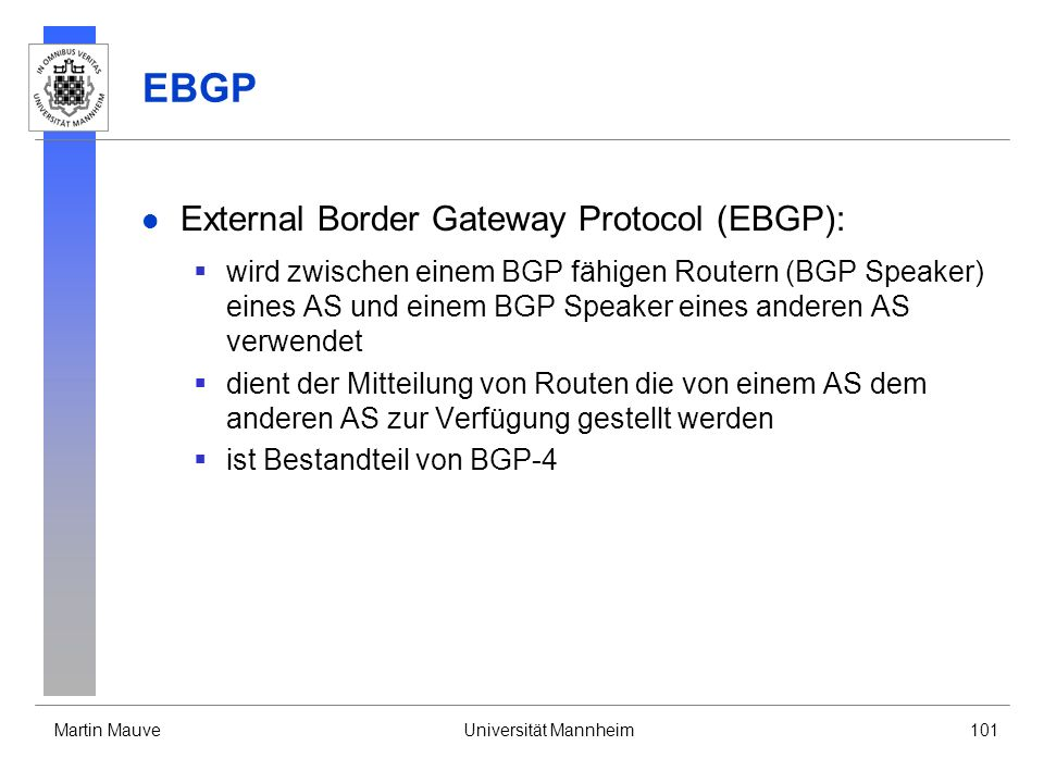 EBGP External Border Gateway Protocol (EBGP):