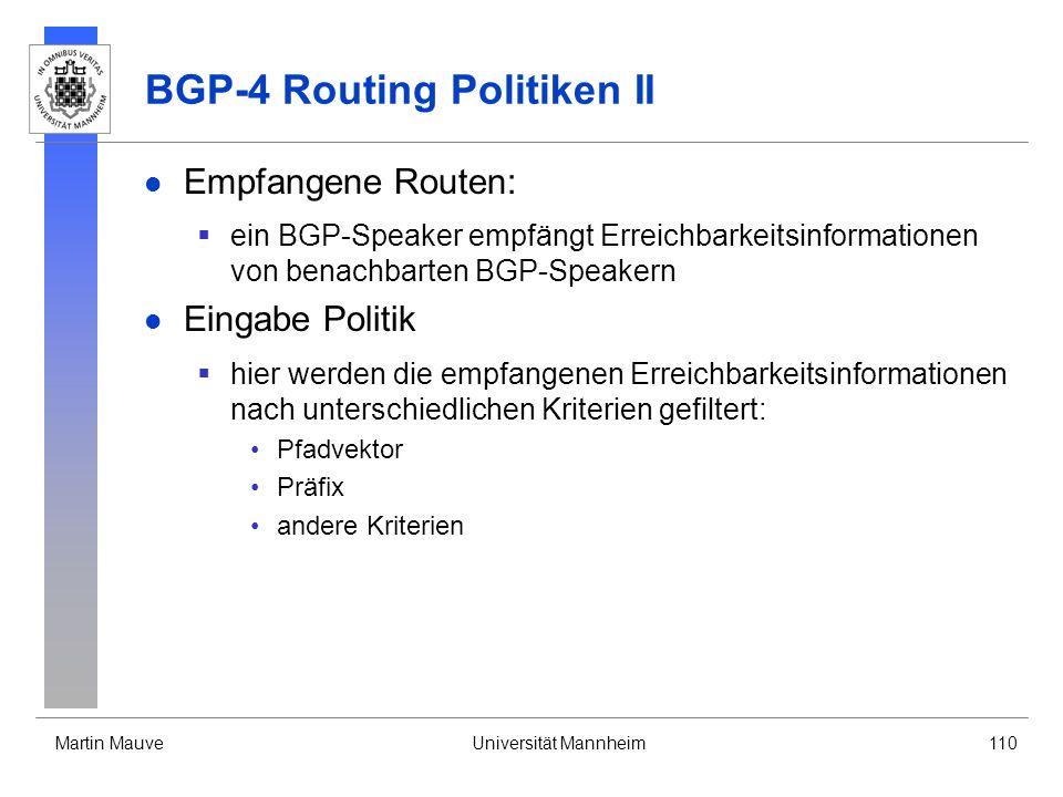 BGP-4 Routing Politiken II