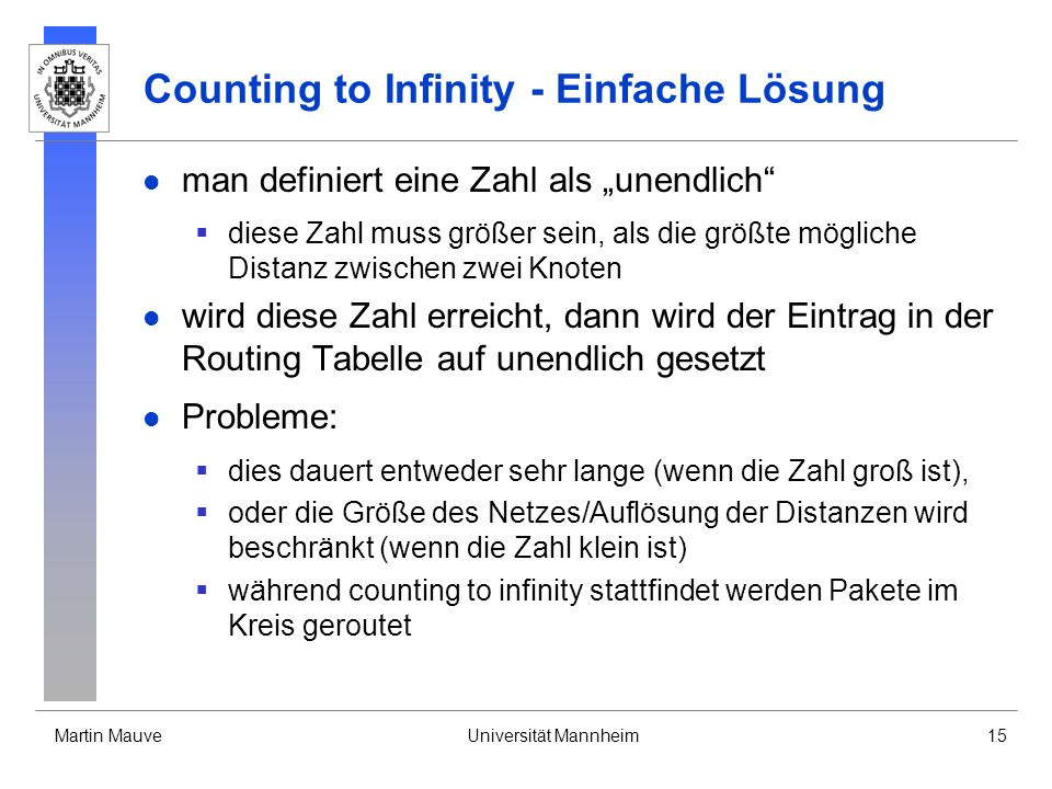 Counting to Infinity - Einfache Lösung