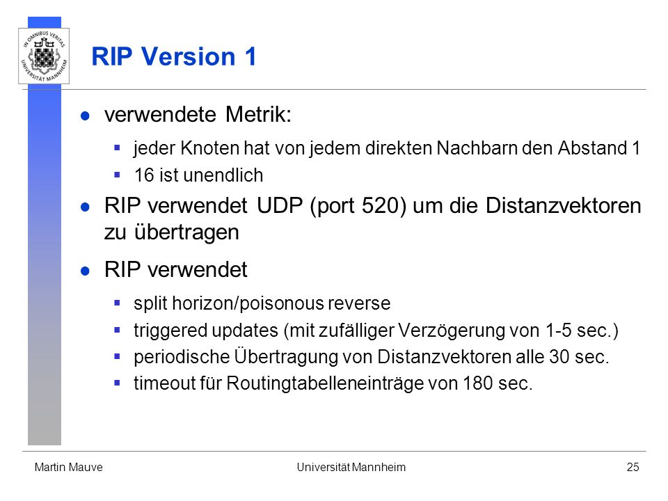 RIP Version 1 verwendete Metrik: