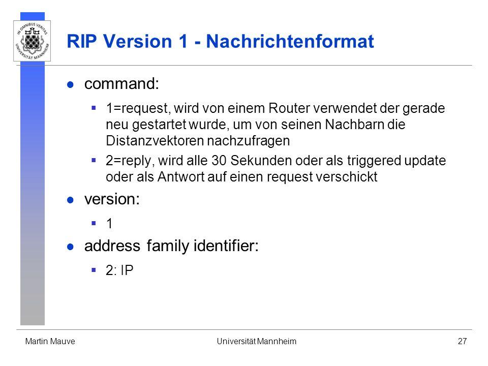 RIP Version 1 - Nachrichtenformat