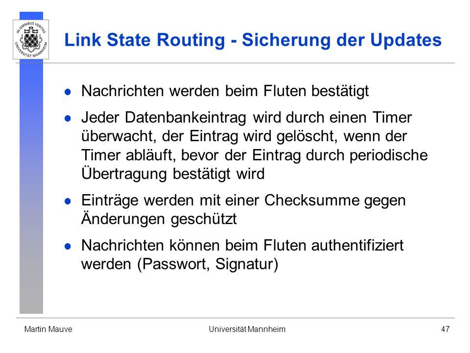 Link State Routing - Sicherung der Updates