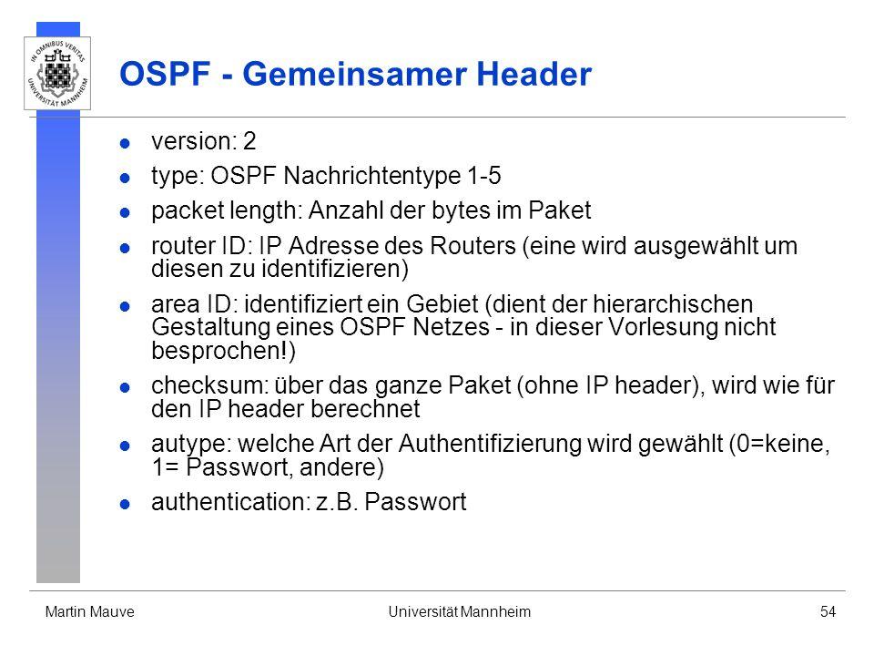 OSPF - Gemeinsamer Header