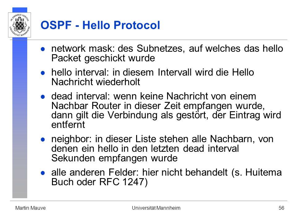 OSPF - Hello Protocol network mask: des Subnetzes, auf welches das hello Packet geschickt wurde.