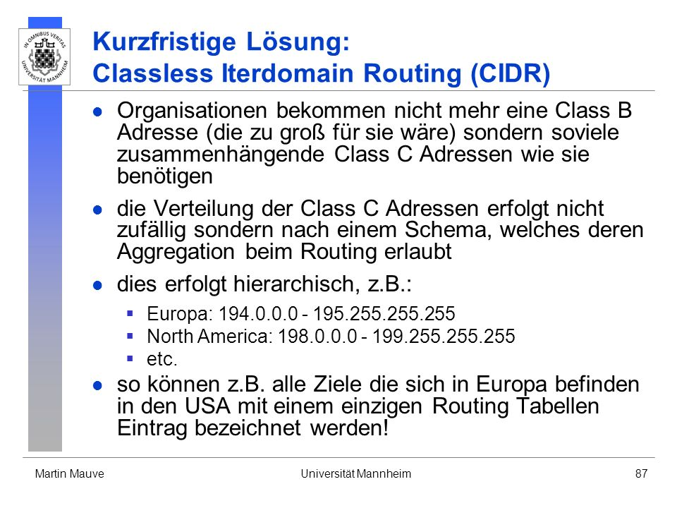 Kurzfristige Lösung: Classless Iterdomain Routing (CIDR)