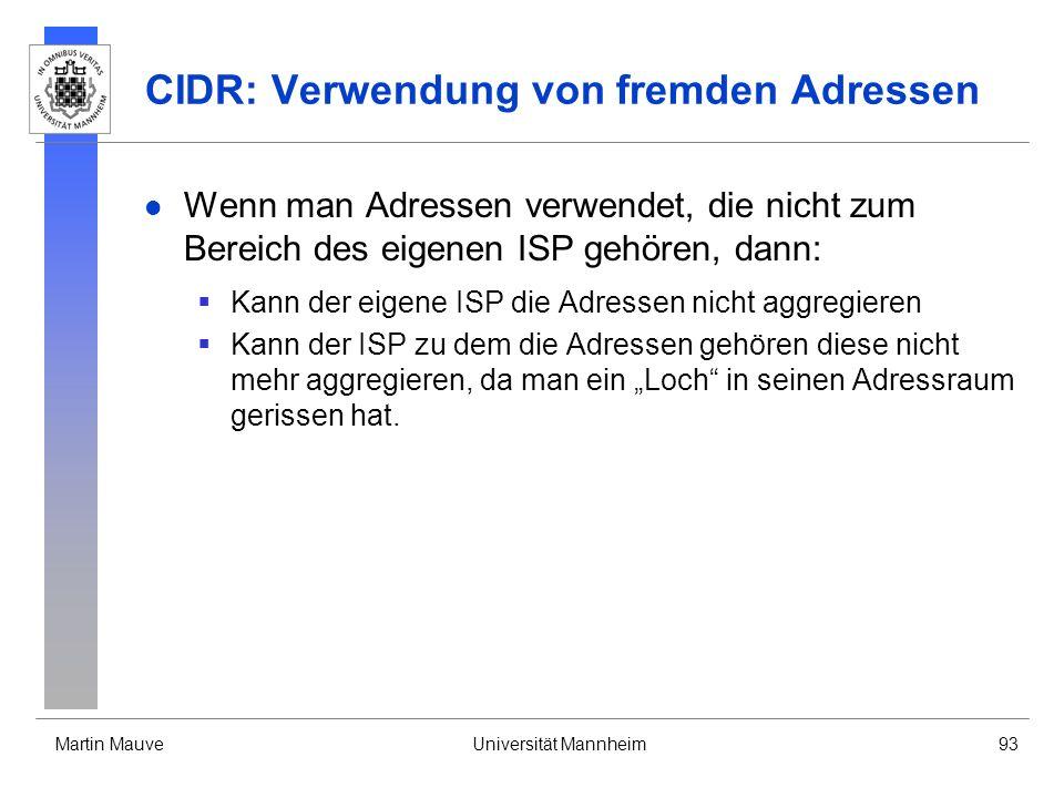 CIDR: Verwendung von fremden Adressen