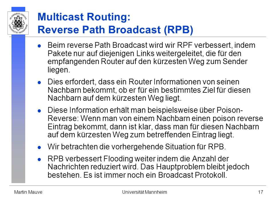 Multicast Routing: Reverse Path Broadcast (RPB)