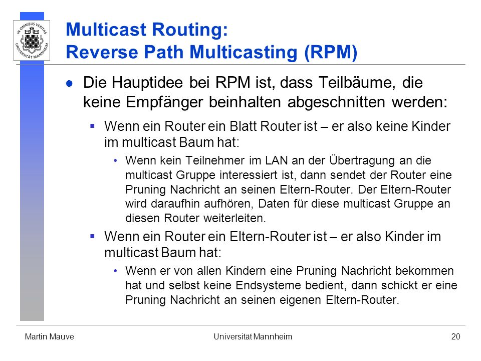 Multicast Routing: Reverse Path Multicasting (RPM)
