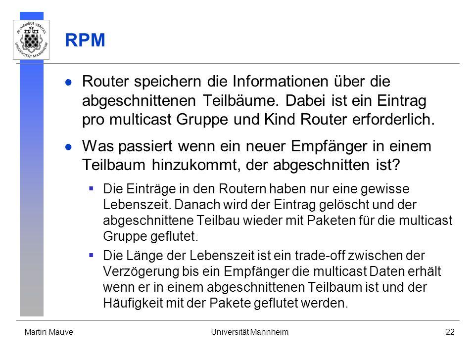 RPM Router speichern die Informationen über die abgeschnittenen Teilbäume. Dabei ist ein Eintrag pro multicast Gruppe und Kind Router erforderlich.
