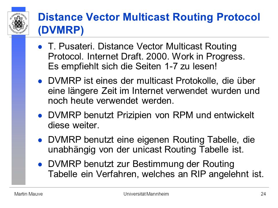 Distance Vector Multicast Routing Protocol (DVMRP)