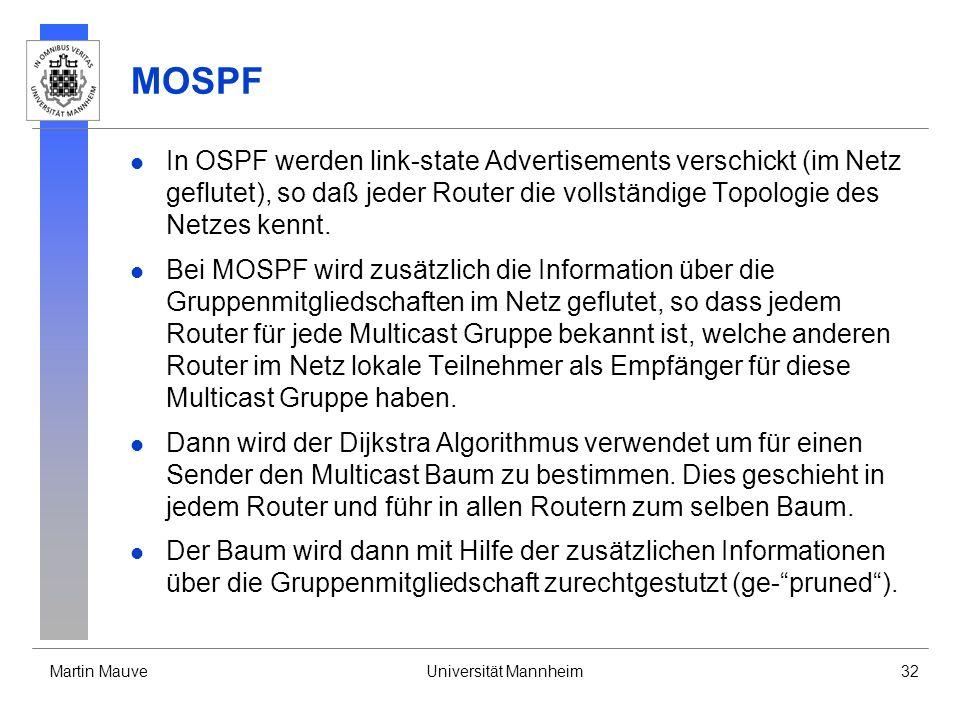 MOSPF In OSPF werden link-state Advertisements verschickt (im Netz geflutet), so daß jeder Router die vollständige Topologie des Netzes kennt.