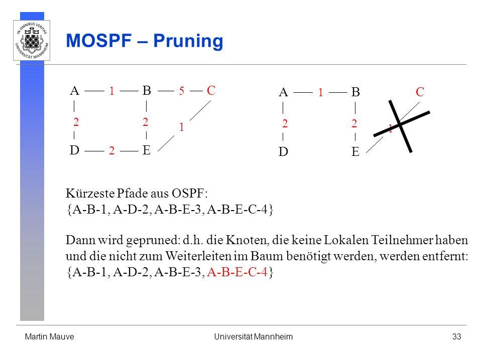 MOSPF – Pruning A B C A B C D E D E Kürzeste Pfade aus OSPF: