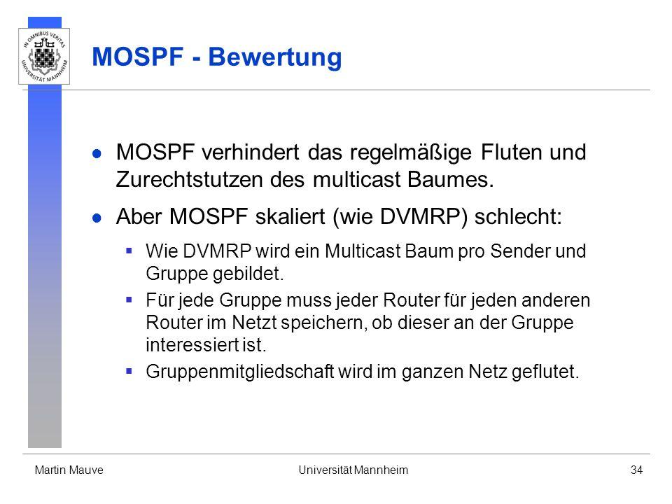 MOSPF - Bewertung MOSPF verhindert das regelmäßige Fluten und Zurechtstutzen des multicast Baumes. Aber MOSPF skaliert (wie DVMRP) schlecht: