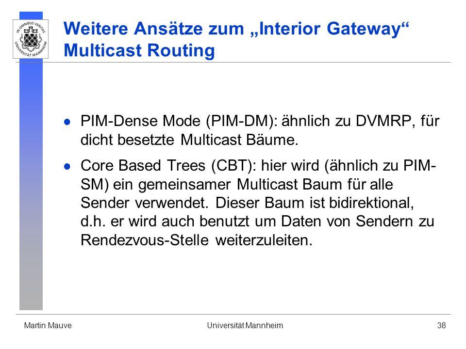 """Weitere Ansätze zum """"Interior Gateway Multicast Routing"""