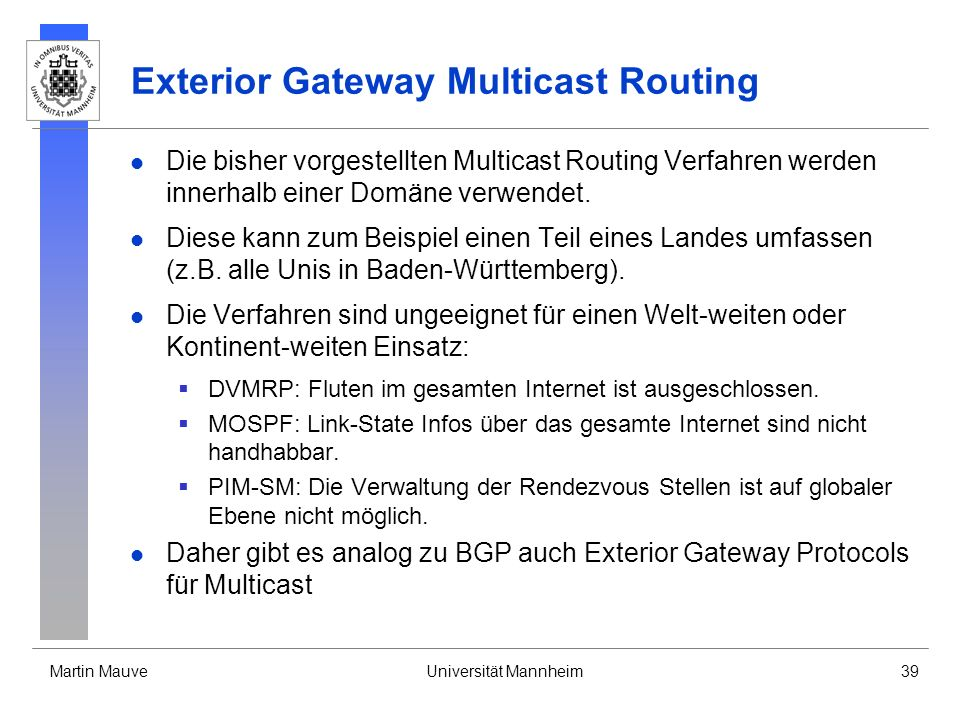 Exterior Gateway Multicast Routing