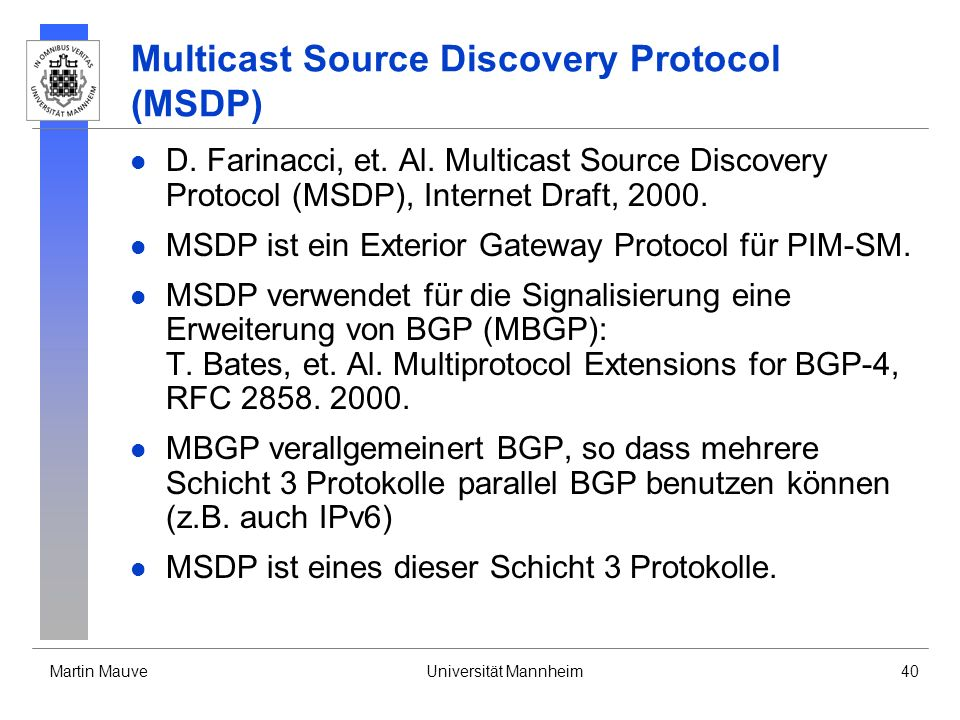 Multicast Source Discovery Protocol (MSDP)
