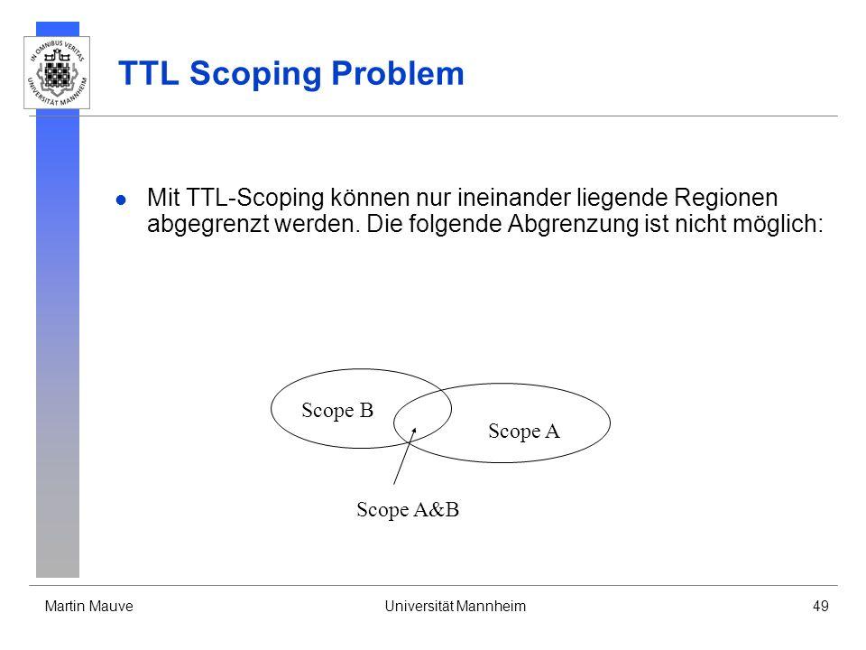 TTL Scoping Problem Mit TTL-Scoping können nur ineinander liegende Regionen abgegrenzt werden. Die folgende Abgrenzung ist nicht möglich: