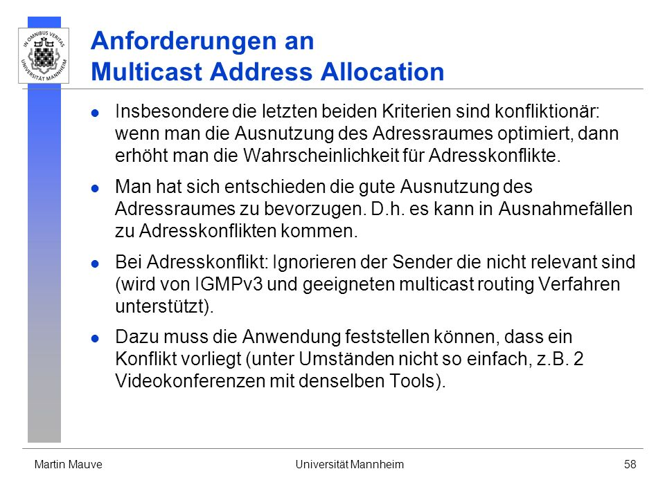 Anforderungen an Multicast Address Allocation