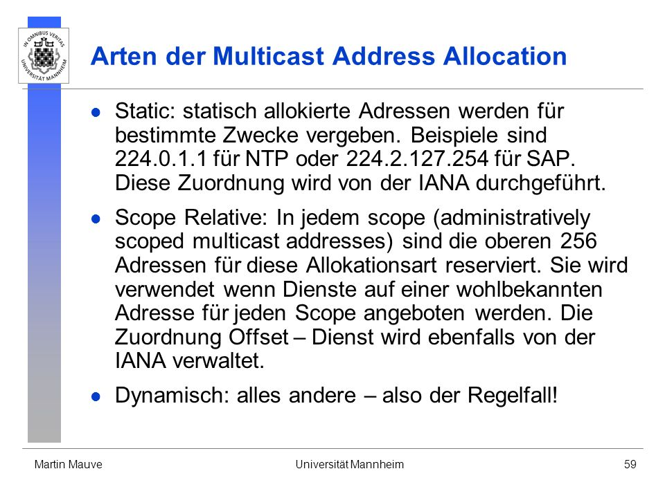 Arten der Multicast Address Allocation