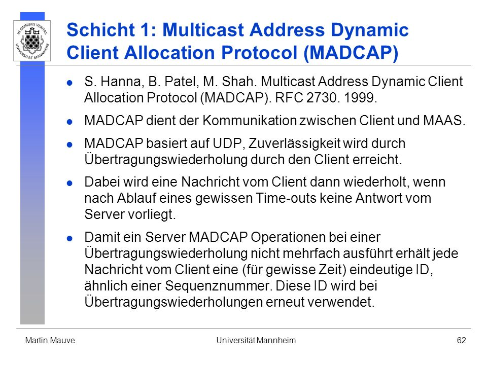 Schicht 1: Multicast Address Dynamic Client Allocation Protocol (MADCAP)