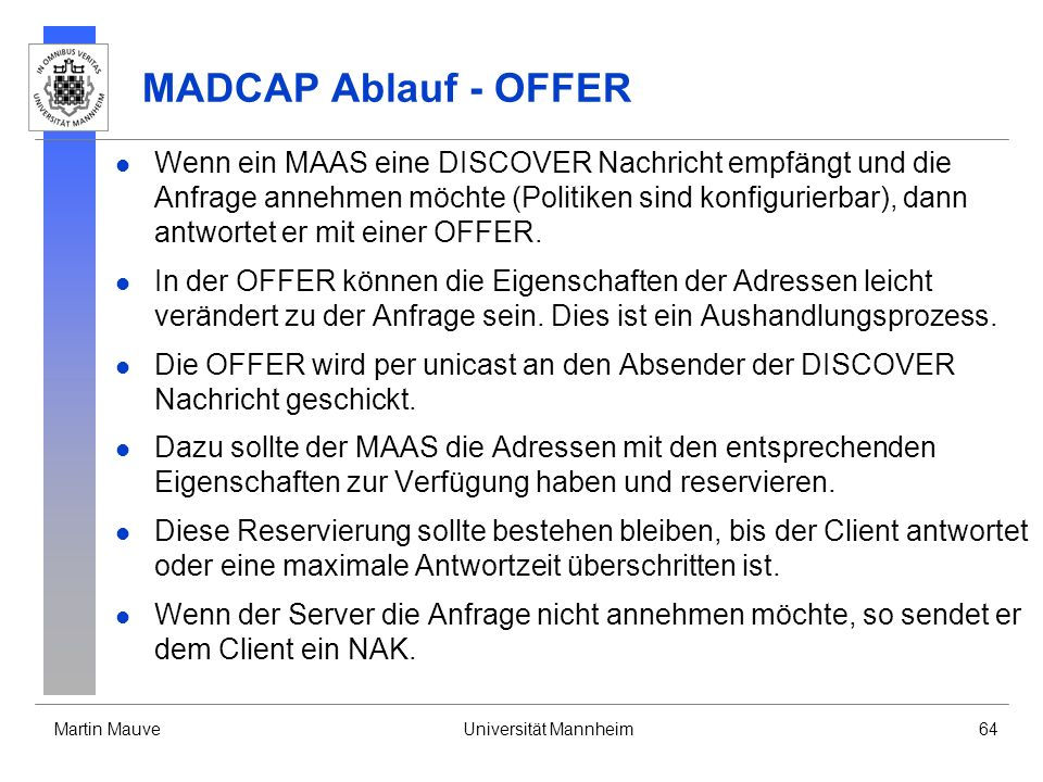MADCAP Ablauf - OFFER