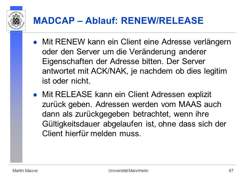 MADCAP – Ablauf: RENEW/RELEASE