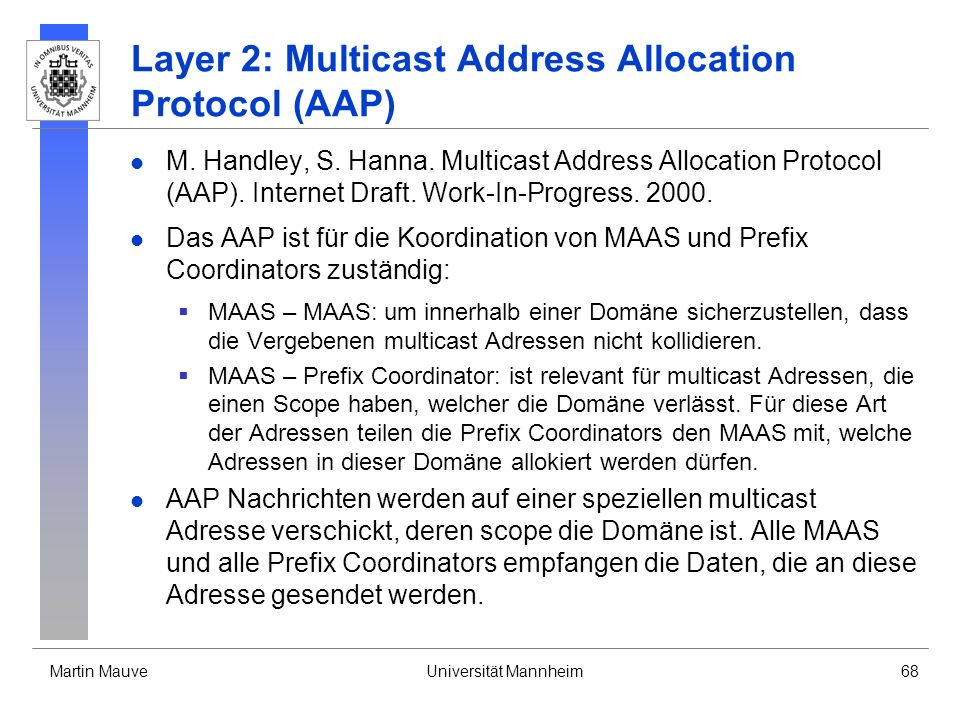 Layer 2: Multicast Address Allocation Protocol (AAP)