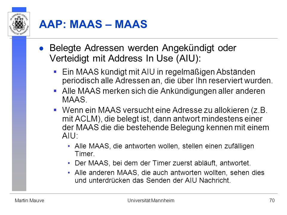AAP: MAAS – MAAS Belegte Adressen werden Angekündigt oder Verteidigt mit Address In Use (AIU):