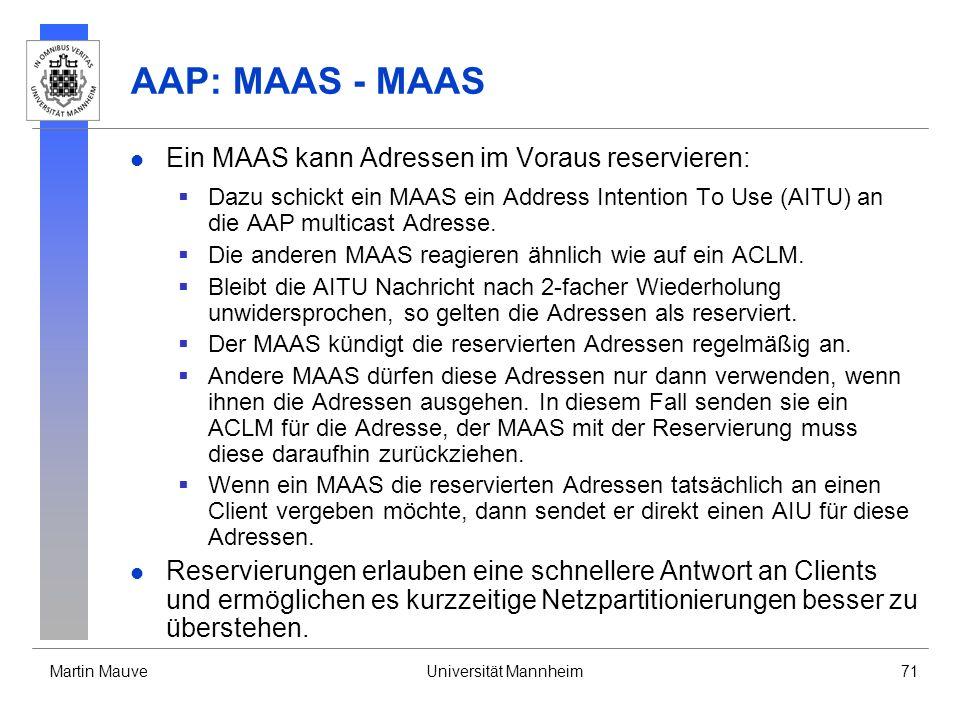 AAP: MAAS - MAAS Ein MAAS kann Adressen im Voraus reservieren: