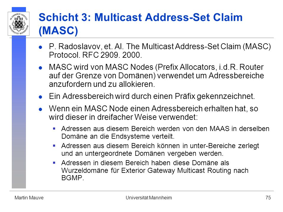 Schicht 3: Multicast Address-Set Claim (MASC)