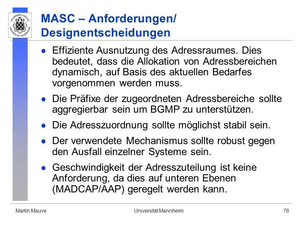 MASC – Anforderungen/ Designentscheidungen