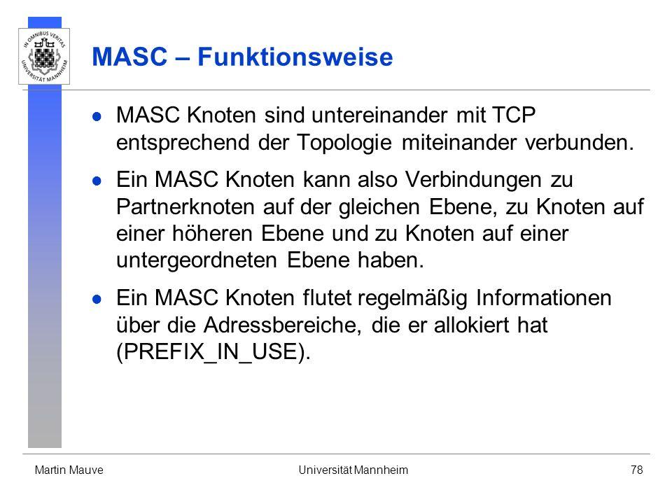 MASC – Funktionsweise MASC Knoten sind untereinander mit TCP entsprechend der Topologie miteinander verbunden.