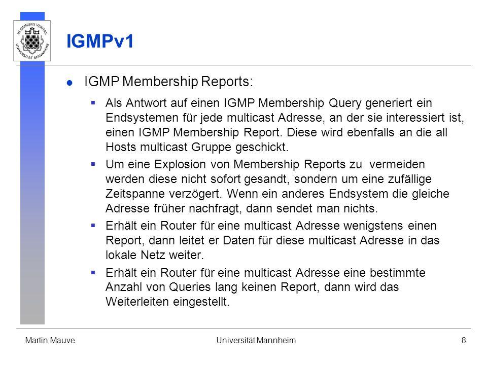 IGMPv1 IGMP Membership Reports: