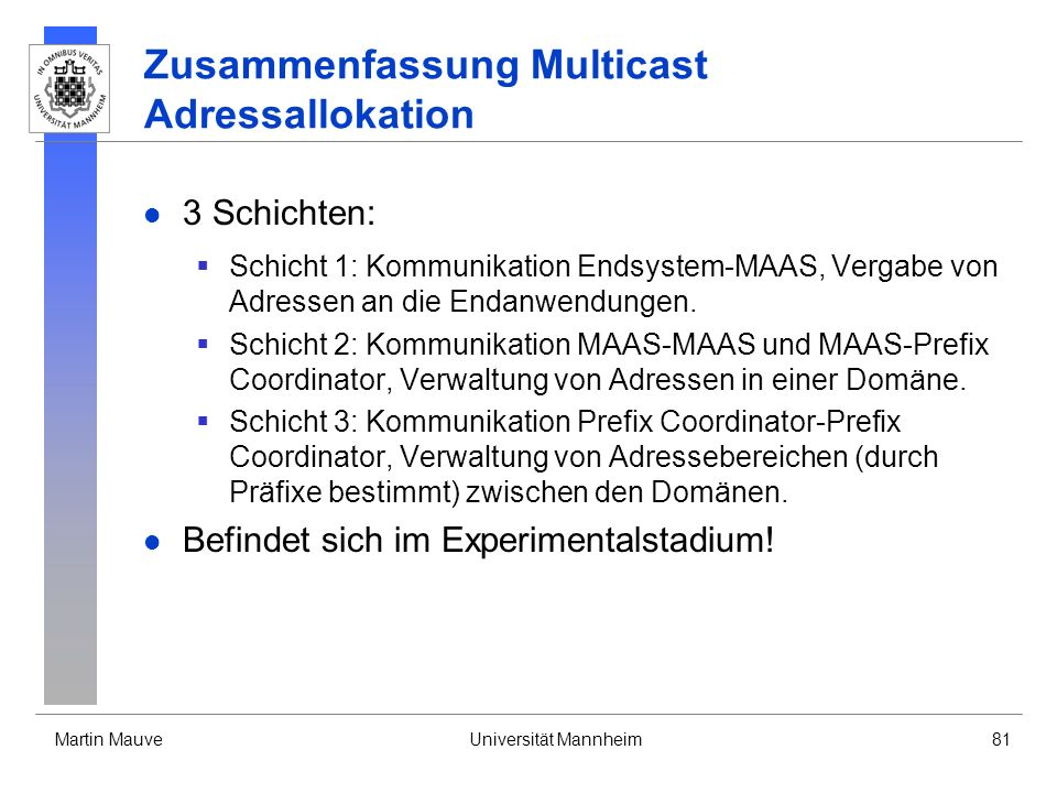Zusammenfassung Multicast Adressallokation
