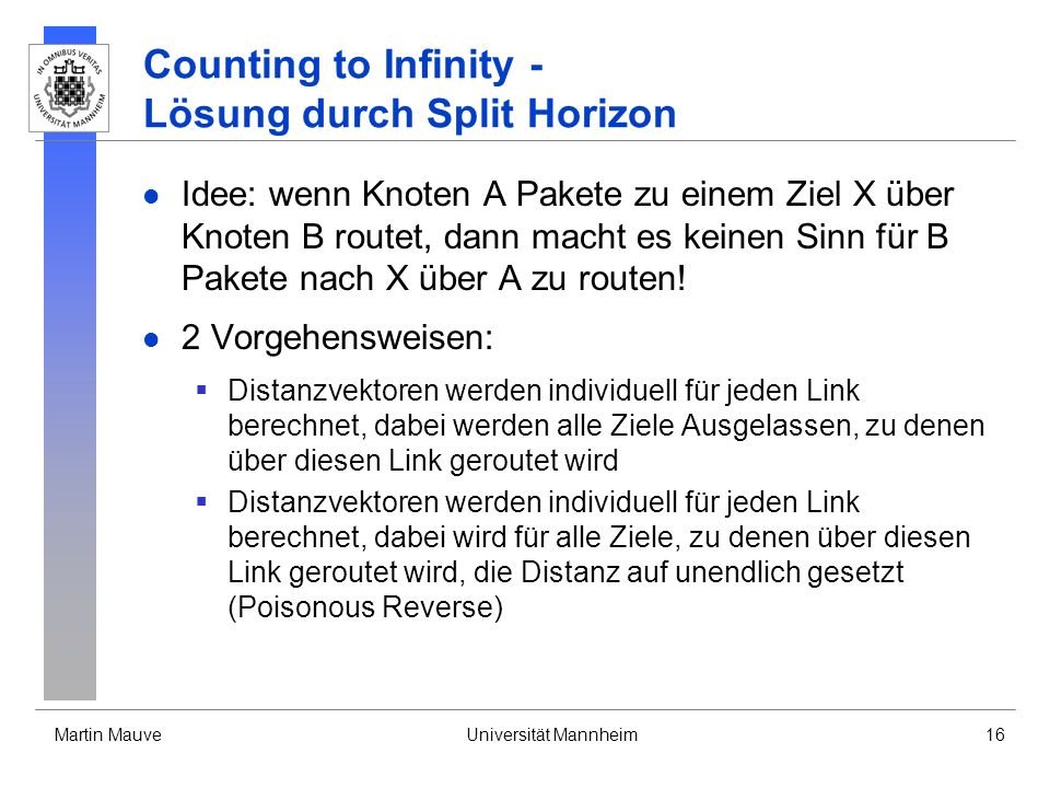 Counting to Infinity - Lösung durch Split Horizon