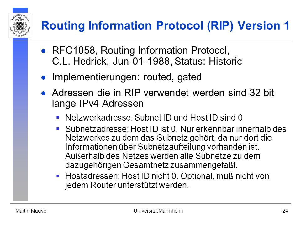 Routing Information Protocol (RIP) Version 1