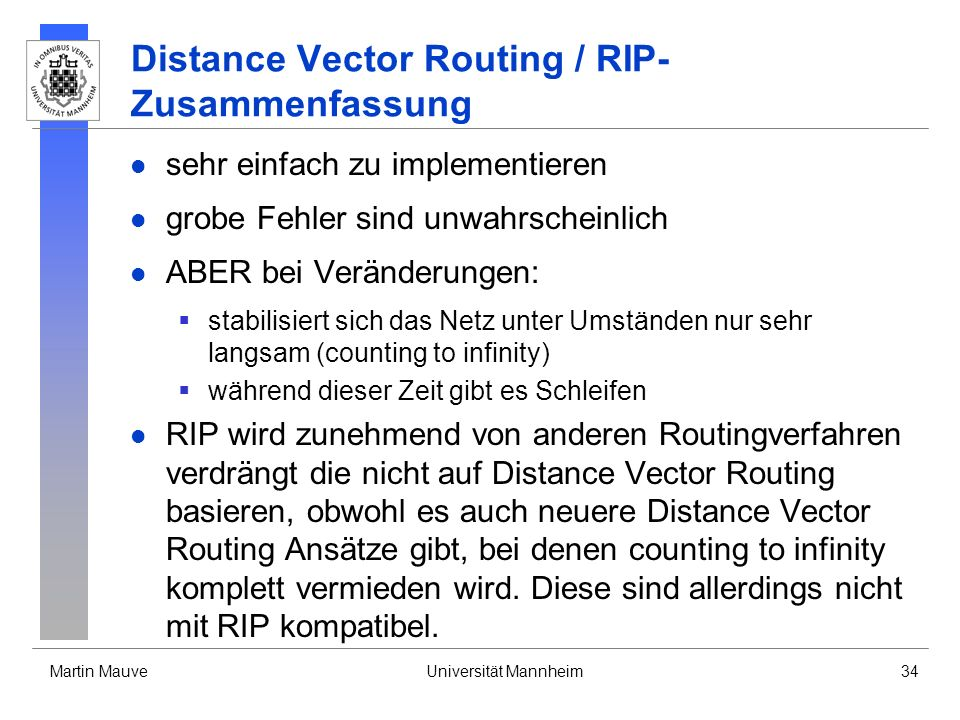 Distance Vector Routing / RIP- Zusammenfassung