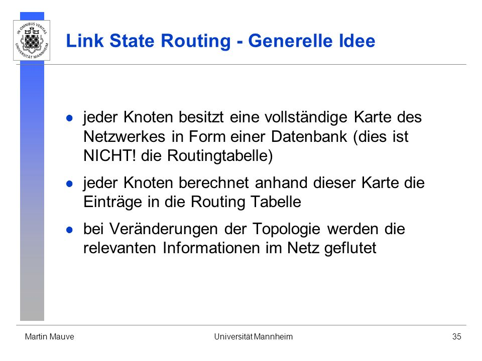 Link State Routing - Generelle Idee