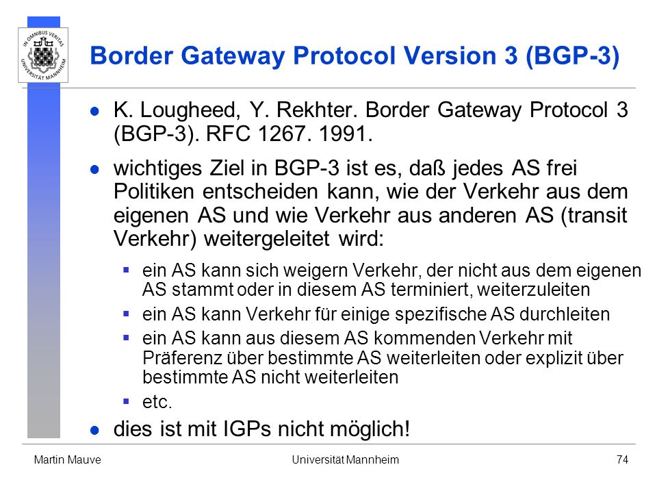 Border Gateway Protocol Version 3 (BGP-3)