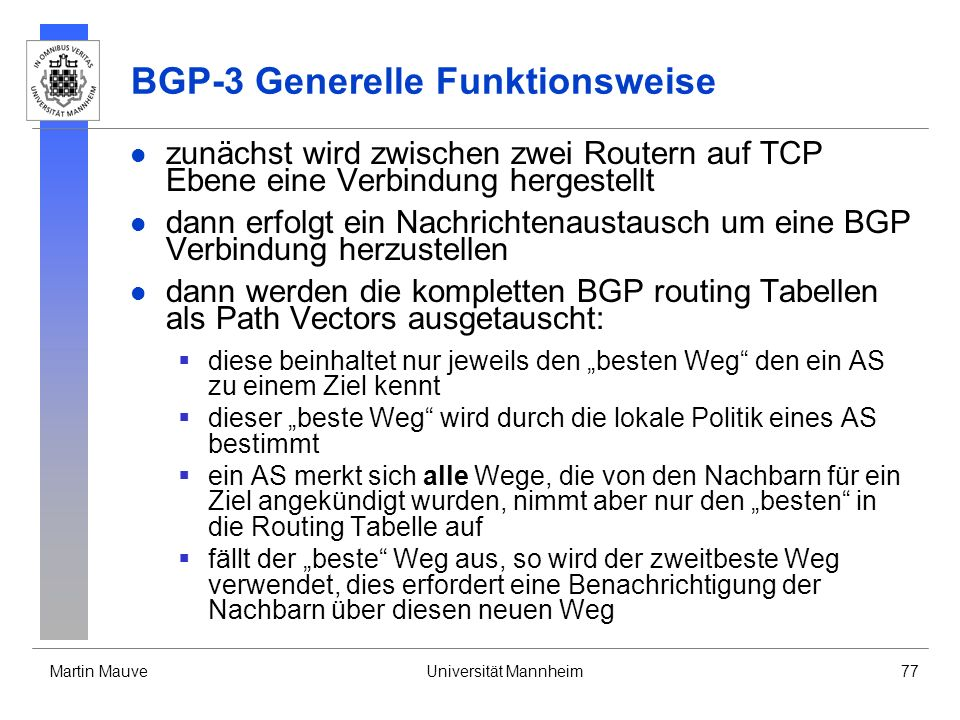 BGP-3 Generelle Funktionsweise