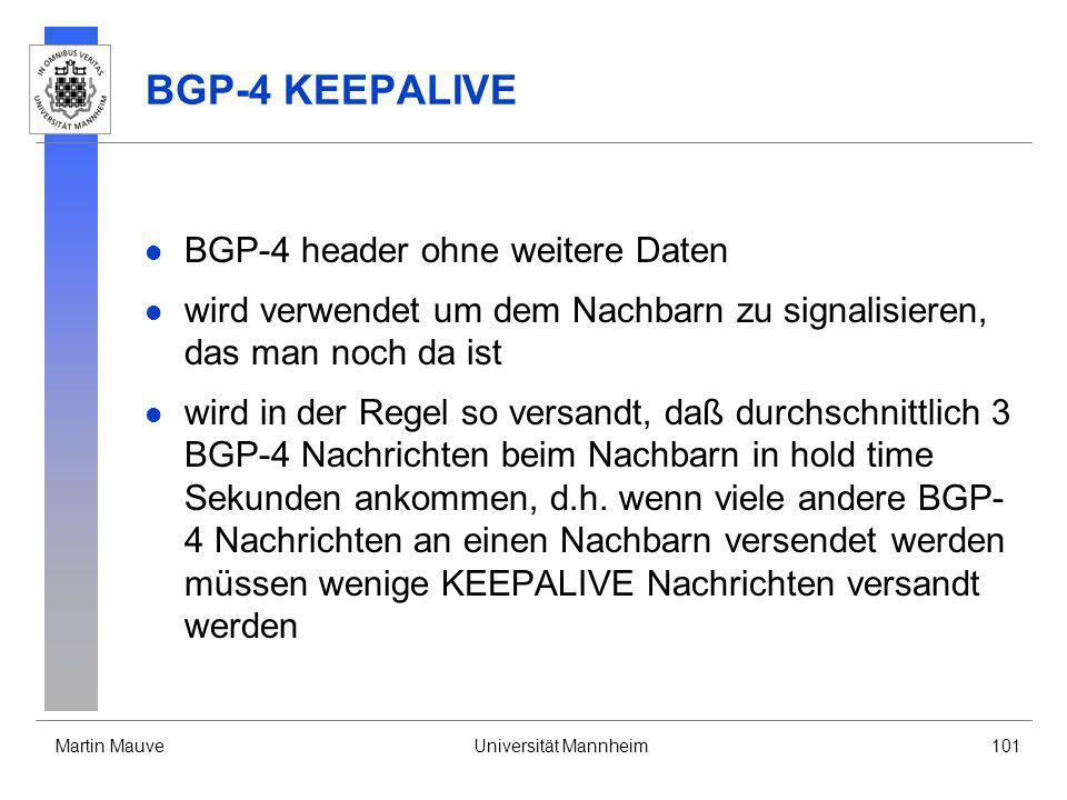 BGP-4 KEEPALIVE BGP-4 header ohne weitere Daten