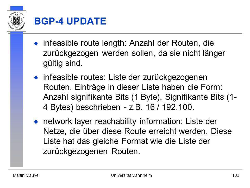 BGP-4 UPDATE infeasible route length: Anzahl der Routen, die zurückgezogen werden sollen, da sie nicht länger gültig sind.