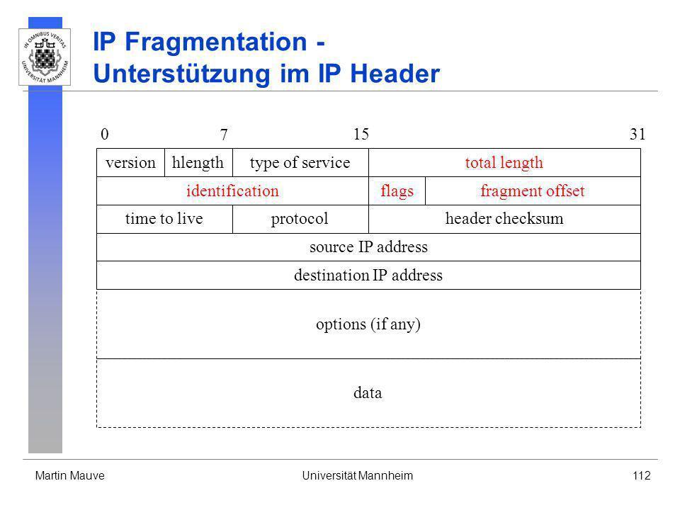 IP Fragmentation - Unterstützung im IP Header