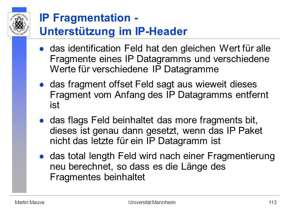 IP Fragmentation - Unterstützung im IP-Header