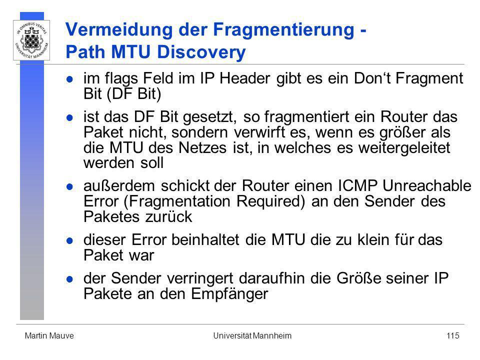 Vermeidung der Fragmentierung - Path MTU Discovery