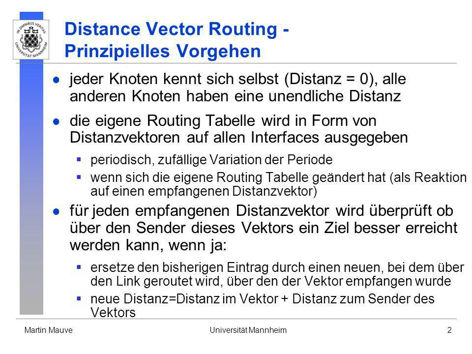 Distance Vector Routing - Prinzipielles Vorgehen