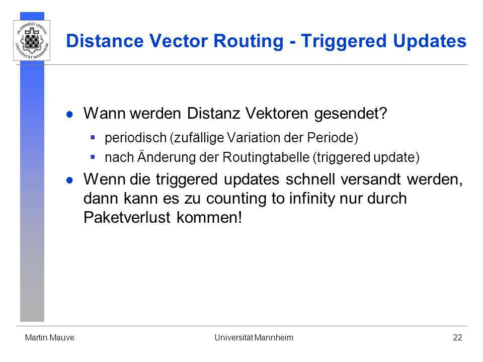 Distance Vector Routing - Triggered Updates