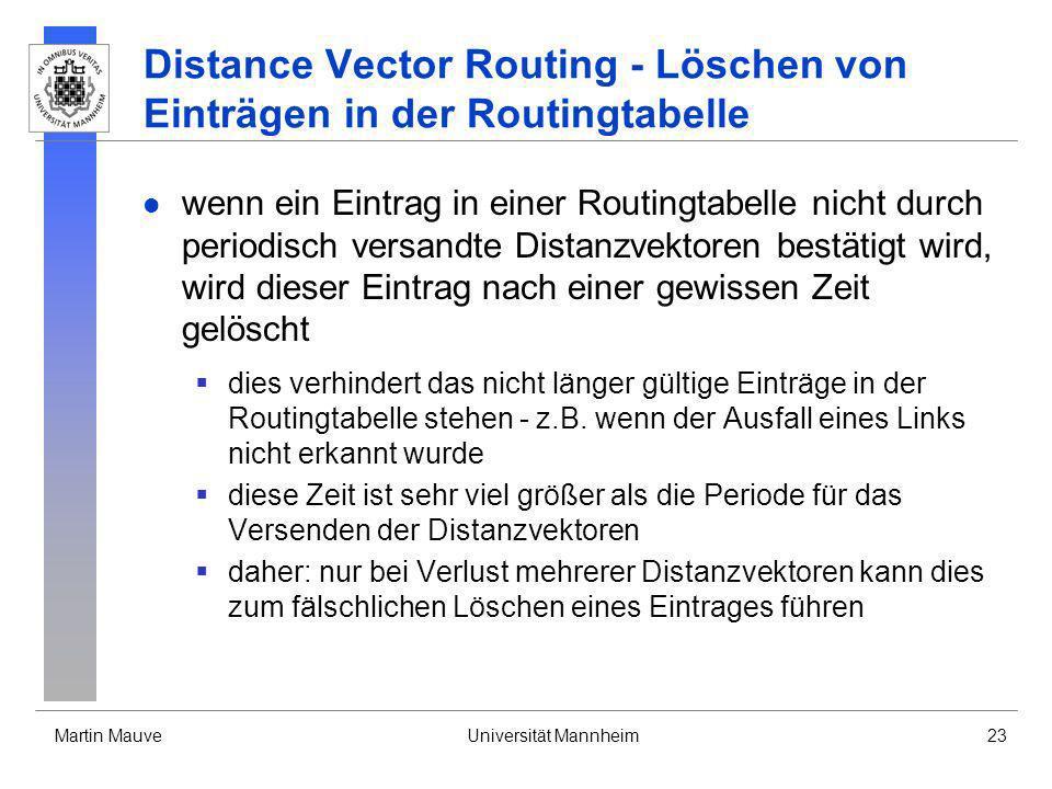 Distance Vector Routing - Löschen von Einträgen in der Routingtabelle