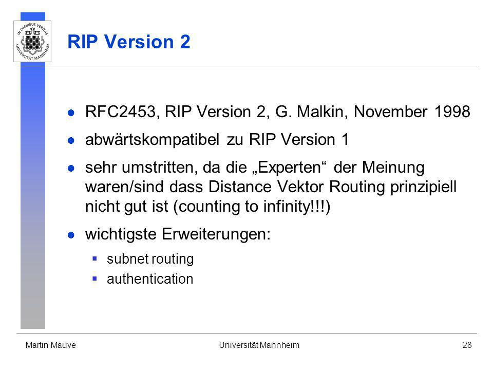 RIP Version 2 RFC2453, RIP Version 2, G. Malkin, November 1998