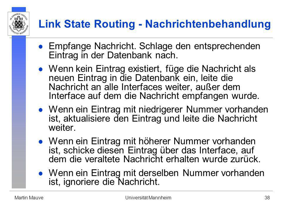 Link State Routing - Nachrichtenbehandlung
